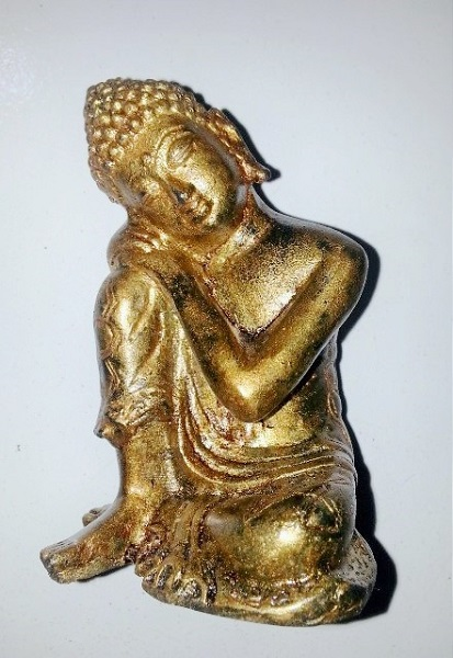 "Buddha Bronze ""Head on Knee"" 10cm"