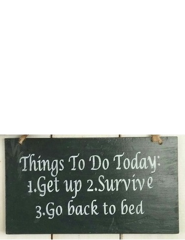 Text: Things To Do Today 1. Get Up 2. Survive 3. Go Back..