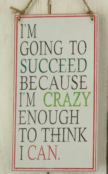 Text: I´AM GOING TO SUCCEED BECAUSE I´AM CRAZY..