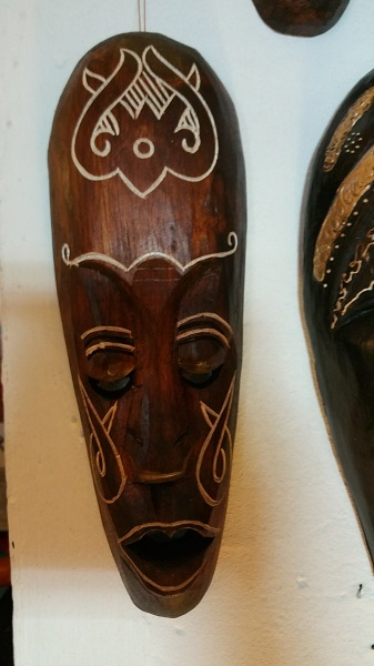 Mask Lombok Carved 30cm Brun