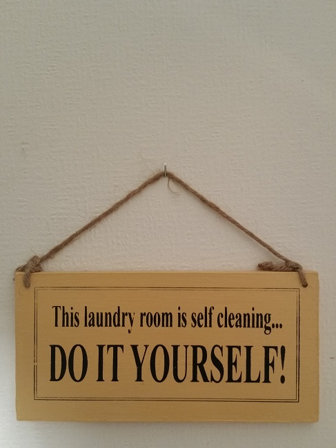 Text: This laundry room is selfclining.. DO IT YOURSELF!