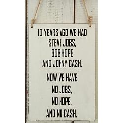 Text: 10 YEARS AGO WE  HAD STEVE JOBS, BOB HOPE..